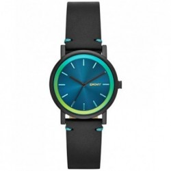 Soho Turquoise Blue Dial Black Leather Ladies